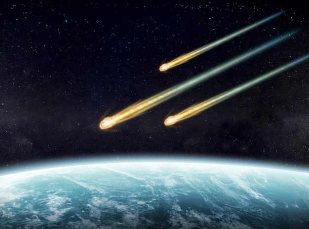 Impact de météorites sur une planète dans l'espace