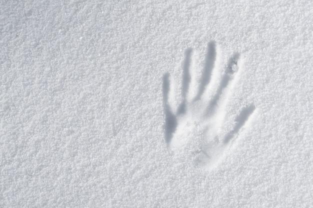 Impession de main dans la neige fraîche