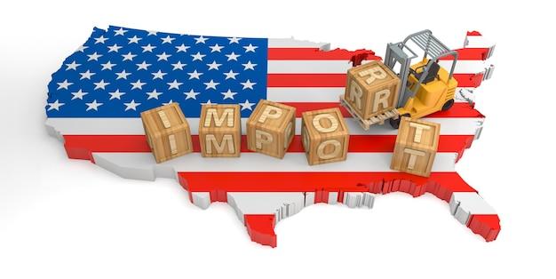 Importer le texte de bloc en bois des états-unis. rendu 3d