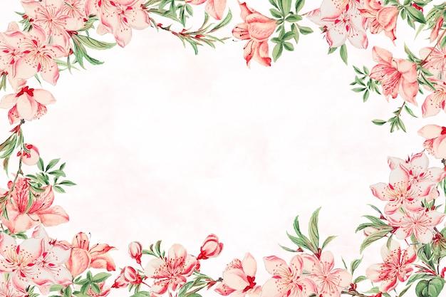 Impression d'art de fleur de pêcher de cadre floral japonais vintage, remix d'œuvres d'art de megata morikaga