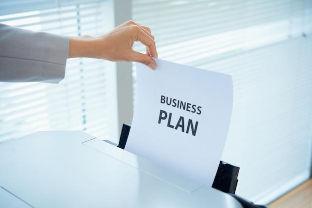Impression du plan d'affaires