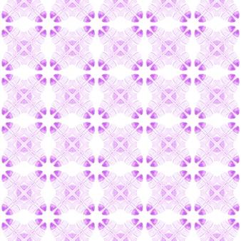 Impression impressionnante prête pour le textile, tissu de maillot de bain, papier peint, emballage. beau design d'été boho chic violet. bordure de tuile répétitive ikat aquarelle. ikat répétant la conception de maillots de bain.