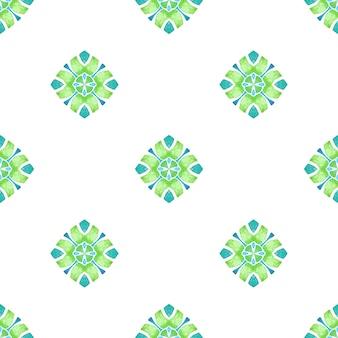 Impression mémorable prête pour le textile, tissu de maillot de bain, papier peint, emballage. design d'été boho chic vert frais. tuile organique. bordure verte organique à la mode.