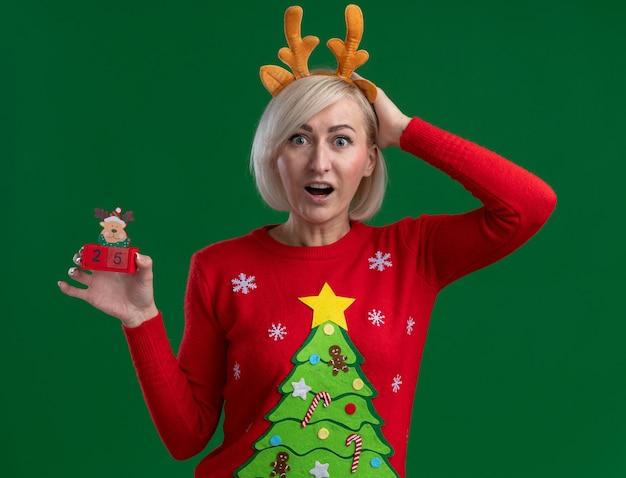 Impressionnée, femme blonde d'âge moyen, portant un bandeau de bois de renne de noël et un pull de noël regardant en gardant la main sur la tête tenant un jouet de renne de noël avec une date isolée sur un mur vert