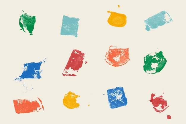 Impressions à la main de fond carré coloré
