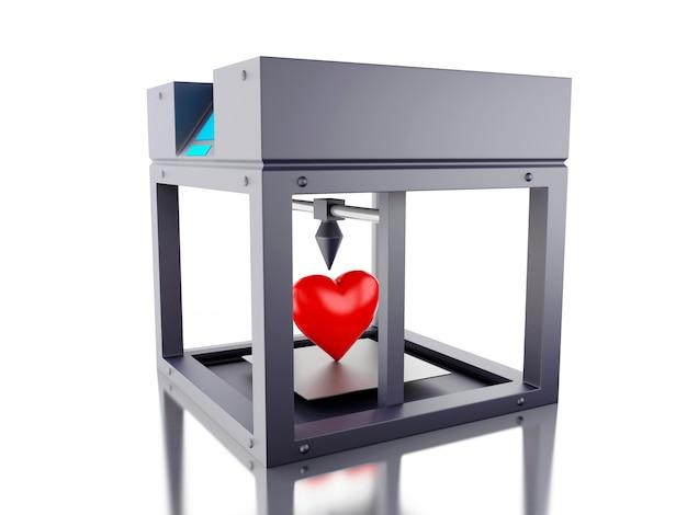 Une imprimante 3d a imprimé un coeur.