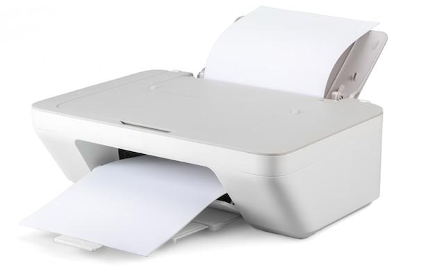 Imprimante isolée sur une surface blanche
