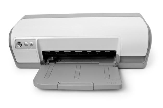 Imprimante à jet d'encre avec du papier isolé sur une surface blanche