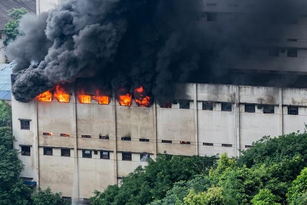 Un incendie s'est déclaré dans l'entrepôt et les pompiers l'éteignaient.