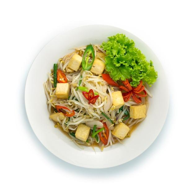 Incorporer les germes de soja avec du tofuchili et de la nourriture chinoise à l'oignon de printemps