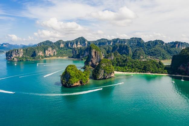 Incroyable thaïlande haute saison magnifique paysage marin vue aérienne ao nang beach island krabi thaïlande