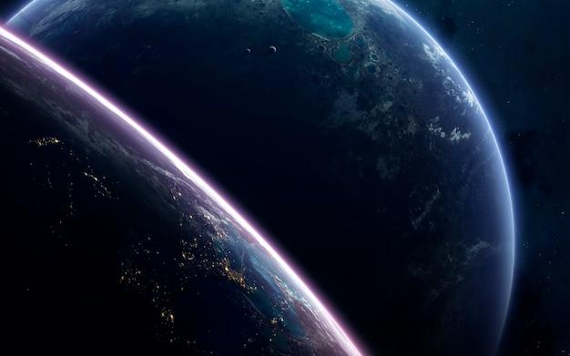 Incroyablement belles planètes, galaxies, beauté sombre et froide d'un univers sans fin