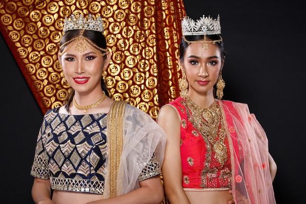 Inde costume traditionnel mariage robe de mariée sur beau portrait de femme