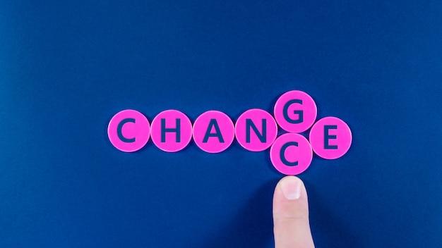 Index d'un homme d'affaires changeant les lettres g et c pour transformer un signe de changement en chance orthographié sur des puces roses