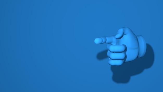Index de la main. illustration, geste, direction, lieu. scène horizontale abstraite minimale élégante, place pour le texte. couleur bleu classique tendance. rendu 3d