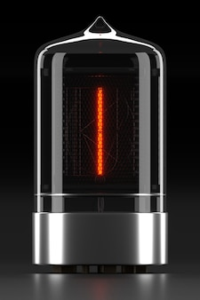 Indicateur de tube nixie, indicateur de décharge de gaz de lampe sur une surface sombre. lettre