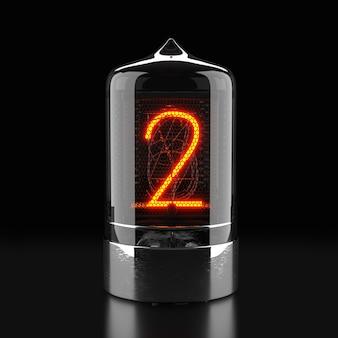 Indicateur de tube nixie, indicateur de décharge de gaz de lampe sur une surface sombre. le numéro deux du rétro. rendu 3d.
