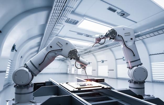 Industrie de l'automatisation avec chaîne de montage de robots en usine