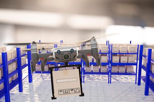 Industrie des dispositifs d'ingénierie de la technologie des drones volant dans la logistique industrielle exportation produit d'importation service de livraison à domicile logistique expédition transport transport ou pièces automobiles de voiture rendu 3d