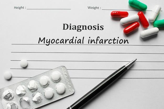 Infarctus du myocarde sur la liste de diagnostic, concept médical