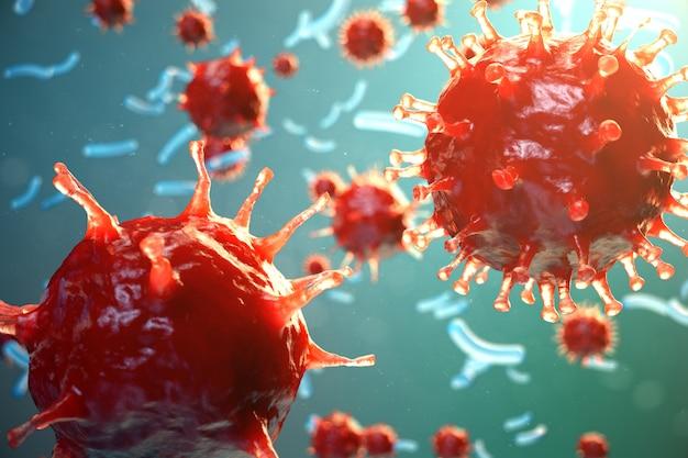 Infection par hépatite virale causant une maladie hépatique chronique. virus de l'hépatite. virus grippal h1n1. grippe porcine, organisme infectieux cellulaire. résumé historique du virus. illustration 3d.