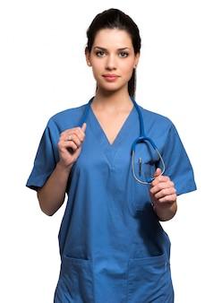 Infirmière portrait isolé sur blanc