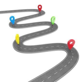 Infographie routière avec pointeur épingle. concept de navigation avec pointeur de broche. pointeur de marqueur de carte sur la carte routière. cartographie cartographique. feuille de route pour la conception d'infographie d'entreprise, rendu 3d