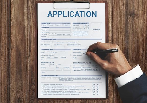 Informations sur l'application concept d'emploi