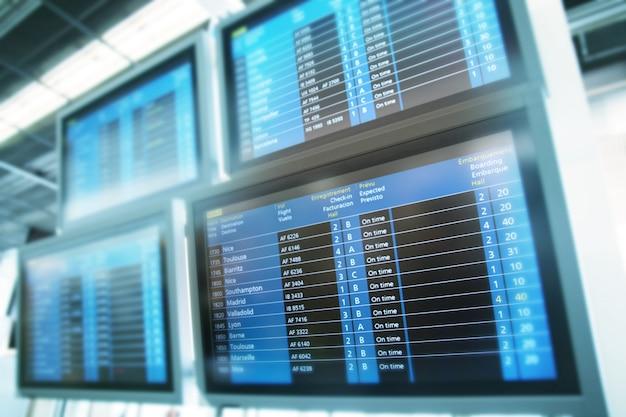 Informations sur le tableau de vol de l'aéroport