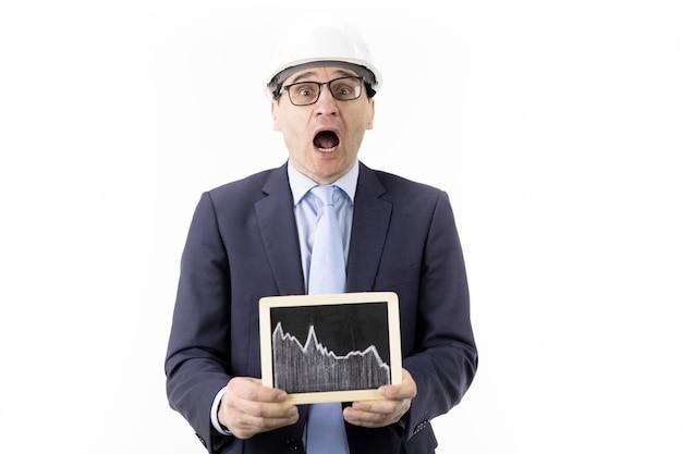 Ingénieur choqué avec la bouche ouverte détient signe avec tableau des citations de pétrole en baisse