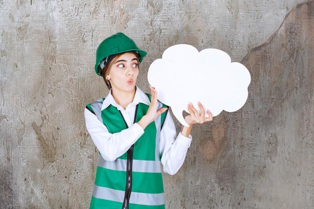 Ingénieure en uniforme vert et casque tenant un tableau d'informations en forme de nuage et a l'air surprise et terrifiée.