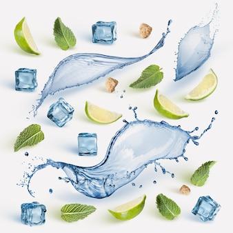 Ingrédient mohito: tranches de citron vert frais, menthe, éclaboussures d'eau, sucre et glaçons isolés sur une surface blanche