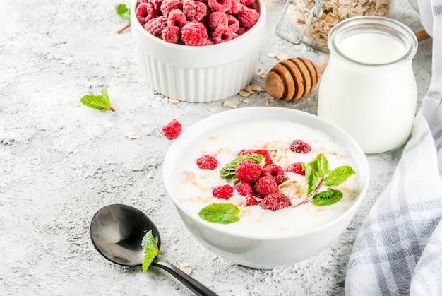 Ingrédients crus pour le petit déjeuner sain d'été, céréales (avoine), framboise fraîche, feuilles de menthe, yaourt, miel, sur béton léger, fond