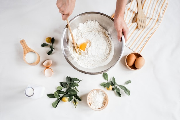 Ingrédients de cuisson en gris