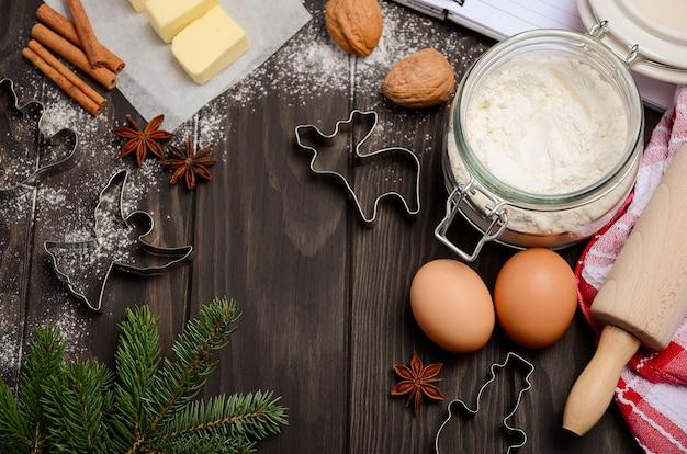 Ingrédients De Cuisson De Noël Photo Premium
