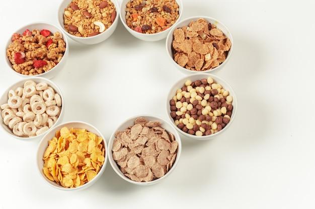 Ingrédients du petit-déjeuner alimentation saine