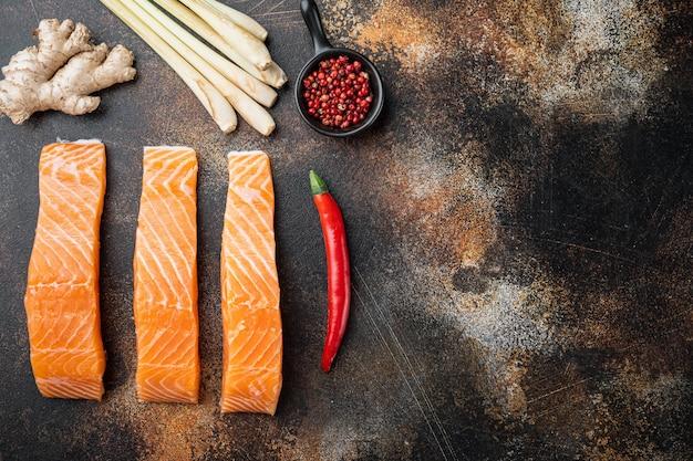 Ingrédients des galettes de poisson au saumon et à la citronnelle