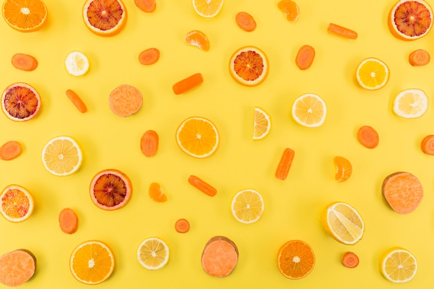 Ingrédients jus et smoothie agrumes