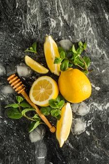 Ingrédients limonade sur marbre