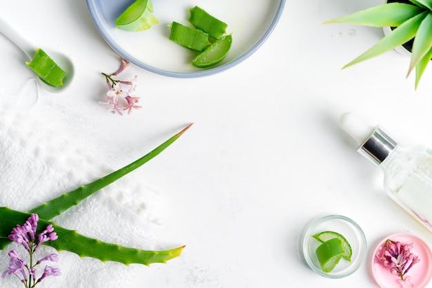 Ingrédients naturels pour faire de la lotion cosmétique maison ou de l'huile essentielle sur un fond gris clair.