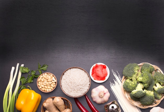 Ingrédients de la nourriture chinoise, légumes et noix.