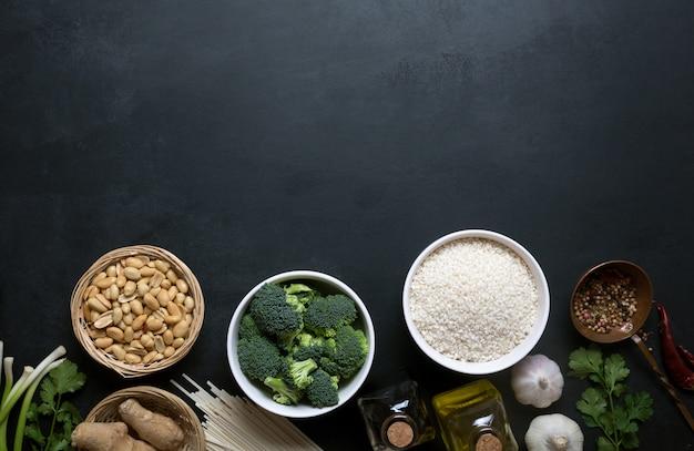 Ingrédients de la nourriture chinoise, légumes et noix