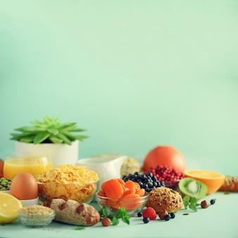 Ingrédients de petit déjeuner sain, cadre de la nourriture.
