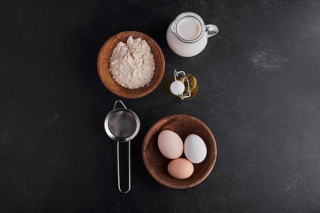 Ingrédients pour la boulangerie ou la pâtisserie, vue de dessus.