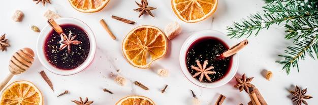 Ingrédients pour cocktail de vin chaud aux épices