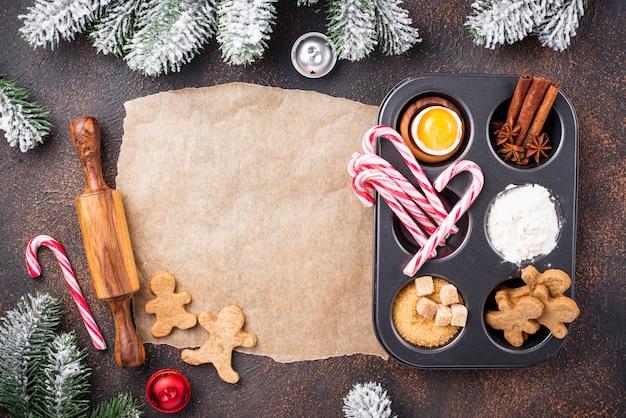 Ingrédients pour la cuisson des biscuits de noël