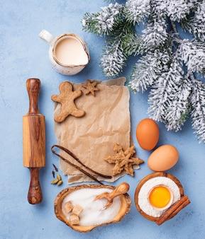 Ingrédients pour la cuisson des biscuits de noël.