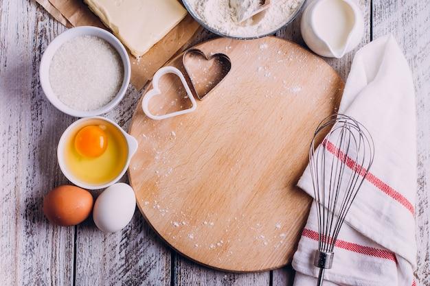 Ingrédients pour la cuisson du gâteau saint valentin