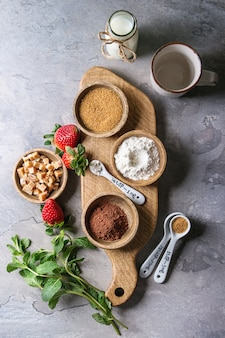 Ingrédients pour la cuisson du gâteau