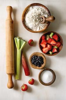 Ingrédients pour la cuisson de la tarte aux baies